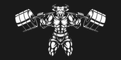Toro culturista levantando pesos pesados en blanco y negro vector