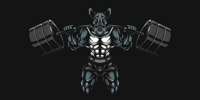 rhino bodybuilder artwork with lifting heavy barbell weights vector