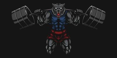 Lobos culturistas y deportistas levantando pesas. vector