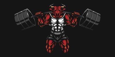 toro, culturista, con, levantar pesas, en, rojo vector