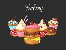 Sweet Bakery background with glazed donuts, cheesecake and cupcakes with cherry, strawberries and blueberries. Hand made lettering. Desert for menu. Food design. vector