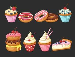 Set of sweet bakery. Vector glazed donuts, cheesecake and cupcakes with cherry, strawberries and blueberries. Desert for menu, advertising and banners. Food design