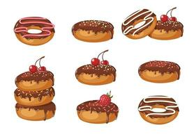 Set of Vector Sweet chocolate glazed donuts with powder, cherries, strawberries and chocolate cream isolated on white. Food design. Illustration for holidays, birthdays, banners, patterns.