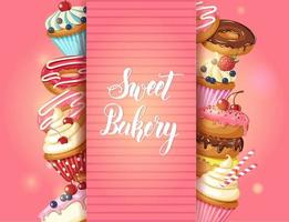 Sweet Bakery background with glazed donuts, cheesecake and cupcakes with cherry, strawberries and blueberries on pink. Hand made lettering. Desert for menu. Food design. vector