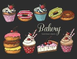 Set of sweet bakery on black. Hand drawn glazed donuts, cake and cupcakes. Desert for menu, advertising and banners. Sketch, lettering. vector