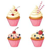 Set of sweet pink cupcakes. Vector pastries decorated with cherry, strawberries, blueberries, sweets. Food design