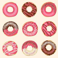 Set of Vector Sweet pink glazed donuts with chocolate and powder. Food design