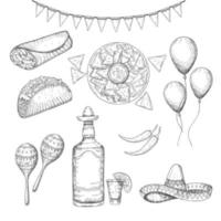 Cinco de Mayo vector colored Set. Hand drawn symbols - chili pepper, maracas, sombrero, nachos, tacos, burritos, tequila, balloons, flag garland isolated on white. Sketch. Mexican food and objects