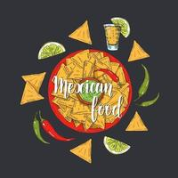 Mexican Food. Hand drawn colored nachos, chili pepper, lime, jalapenos,  tequila in sketch style. Hand made lettering. illustration for menu designs. vector