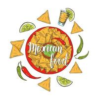 Mexican Food. Hand drawn colored nachos, chili pepper, lime, jalapenos,  tequila in sketch style on white. Hand made lettering. illustration for menu designs. vector