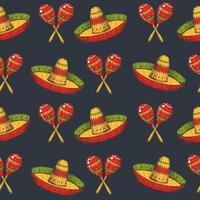 Cinco de Mayo seamless pattern with colored Hand drawn Mexican symbols- maracas and sombrero on black. Sketch. For wallpaper, web page background vector