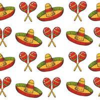 Cinco de mayo de patrones sin fisuras con símbolos mexicanos dibujados a mano de colores: maracas y sombrero en blanco. bosquejo. para papel tapiz, fondo de página web vector