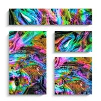 Mixture of acrylic paints. Modern artwork. Abstract liquid background set vector