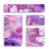 Mixture of acrylic paints. Abstract liquid background set vector
