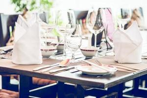 Table dining set in the hotel restaurant