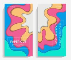 Vertical banners with paper cut shapes vector