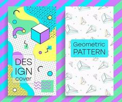 Brochures with memphis design elements and pattern vector