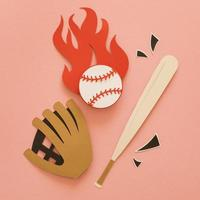 Paper cutout of a flat lay baseball bat with glove ball