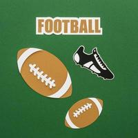 Paper cutout of American footballs with sneaker