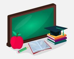 isometric back to school concept illustration vector