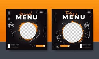 Flyer or social media post template food menu themed vector