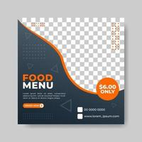 Flyer or social media post template for fast food themed vector