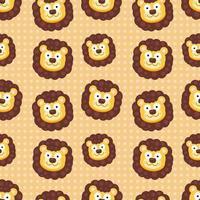 Ilustración de patrones sin fisuras de cabeza de león lindo vector