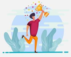 businessman holding the trophy for successful metaphor illustration in flat style vector
