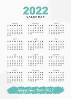 plantilla de calendario 2022 de diseño simplemente elegante vector