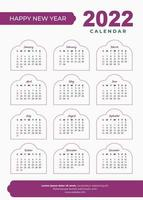 2022 diseño de calendario islámico vector