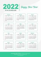 2022 diseño de calendario simplemente verde vector