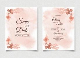 Orange watercolor wedding invitation flowers card vector