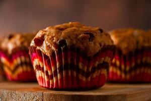 Homemade cupcakes with raisins photo