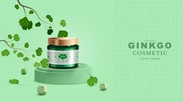 Cosmetics or skincare product. Bottle mockup and Ginkgo Leaves with green background. vector