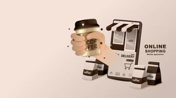 Online concept. Coffee shop delivery on mobile. Food and drink order application. vector