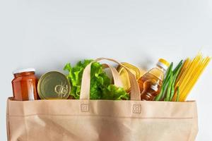 Groceries in a reusable grocery bag