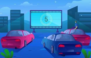 conducir en diseño de película al aire libre vector