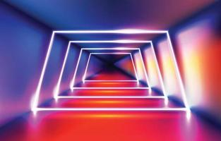 fondo de luz de neón trapezoidal realista vector