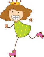 Cute girl cartoon character in hand drawn doodle style isolated vector