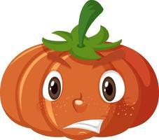 Cute pumpkin cartoon character with scared face expression on white background vector