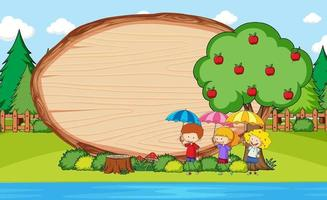 Park scene with blank wooden board in oval shape with kids doodle cartoon character vector