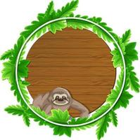 Round green leaves banner template with a sloth cartoon character