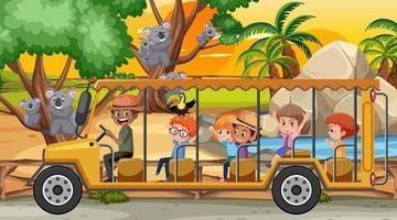 safari en la escena del atardecer con niños viendo el grupo de koalas vector