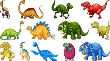 Different dinosaurs cartoon character and fantasy dragons isolated vector