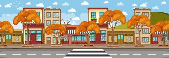 muchos edificios de tiendas a lo largo de la calle escena horizontal durante el día vector