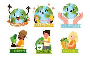 Earth Day Sticker Concept vector