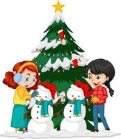 Two girl creating snowman in christmas day vector