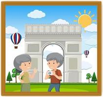 A picture of an old couple with Arc de Triomphe vector