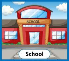 Educational English word card of School vector