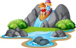 Children row the boat in the stream waterfall scene vector